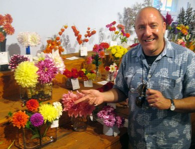 Ed & his dahlias