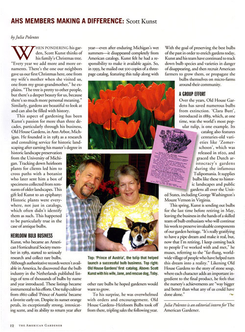 <i>American Gardener</i> Honors Us for Making a Difference &ndash; www.OldHouseGardens.com
